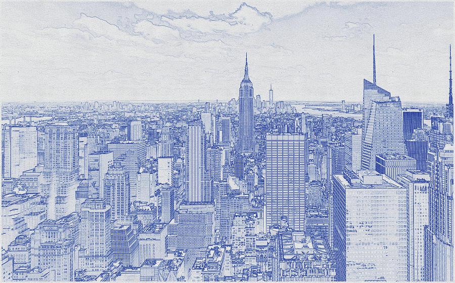 Blueprint Drawing Of Empire State Building, New York Digital Art