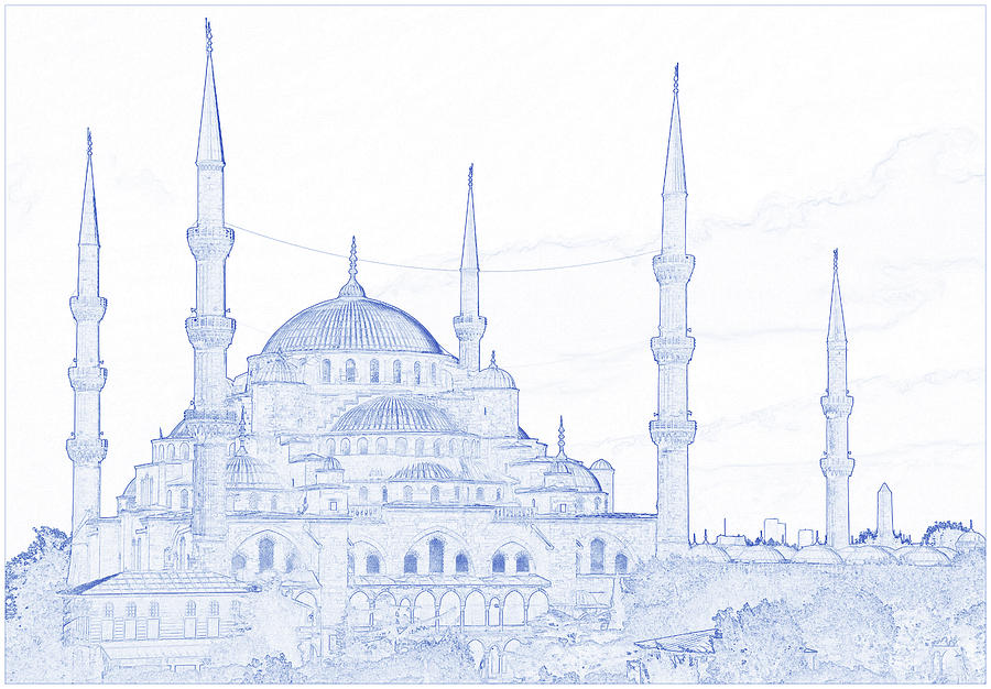 Blueprint Drawing Of The Blue Mosque, Istanbul, Turkey 2 By Ahmet Asar Digital Art