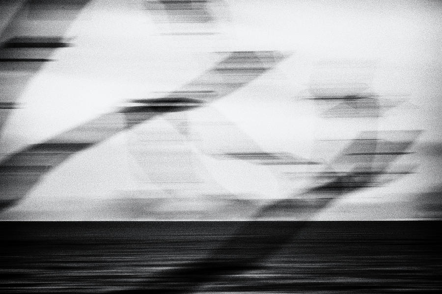 Abstract Photograph - Blurred Branches, Turquoise Sea - black and white by Lucy Brown