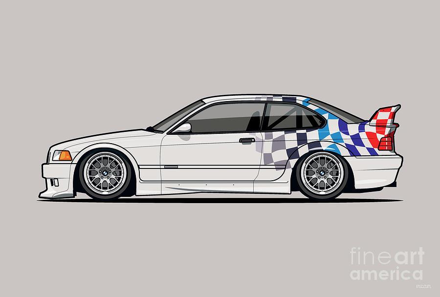 Bmw 3 Series E36 M3 Gtr Coupe Touring Car Digital Art
