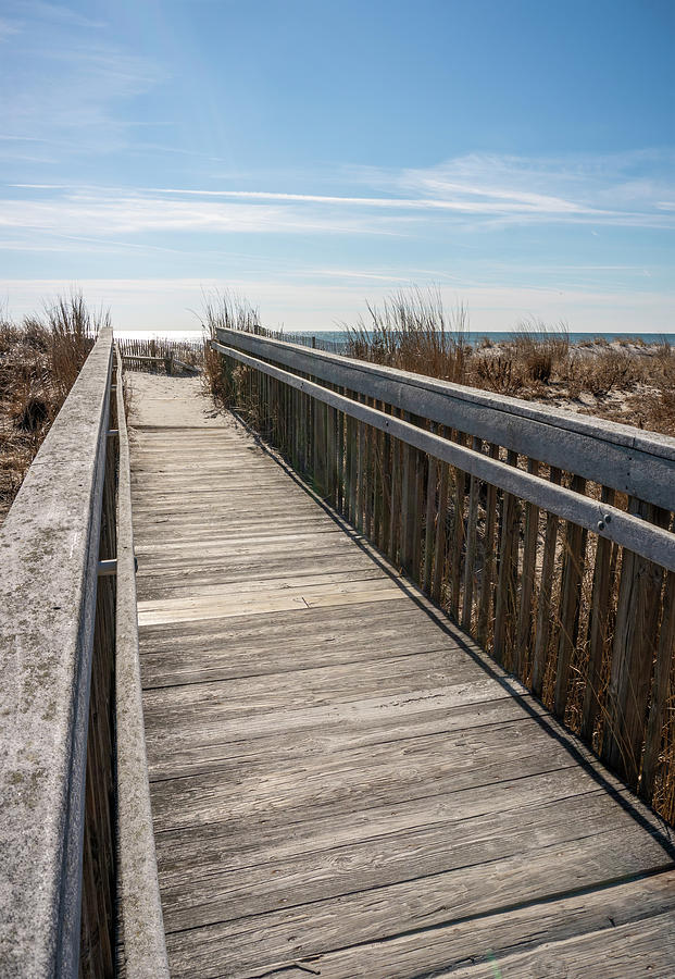 Boardwalk to Beach on Sunny Winter Day by Barbara Rogers