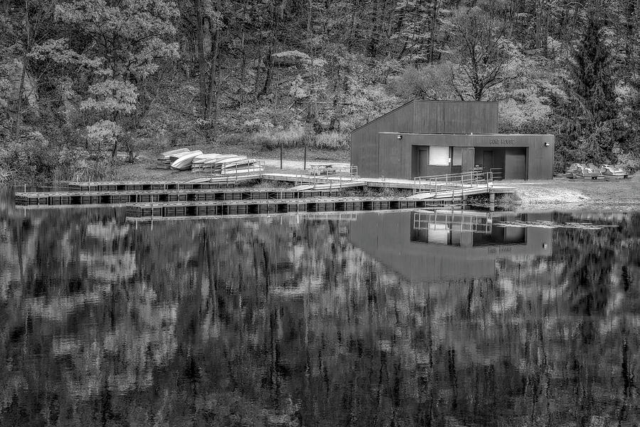 Boat House Fall BW by Susan Candelario