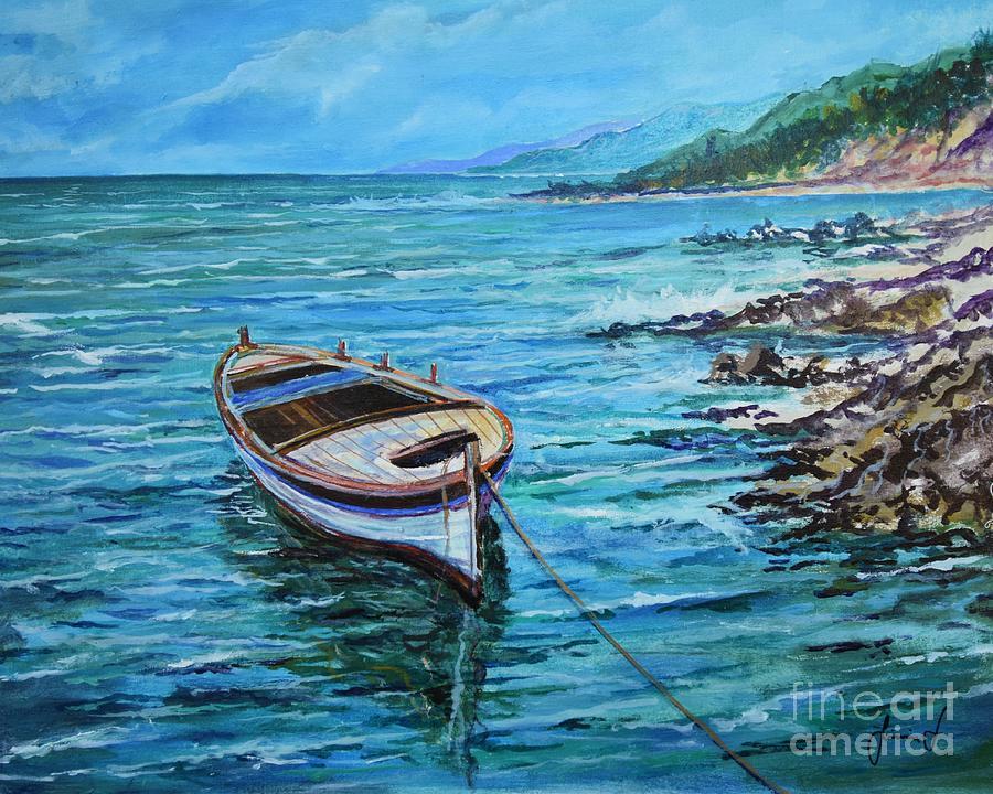 Sea Painting - Boat by Sinisa Saratlic