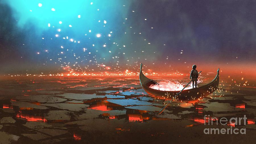 Illustration Painting - Boatboy by Tithi Luadthong