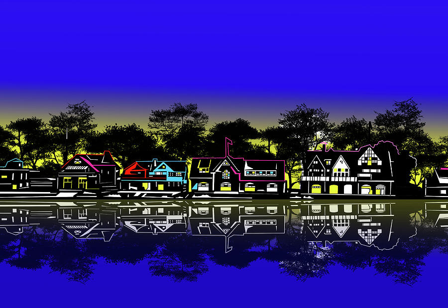 Boathouse Row Night Digital Art
