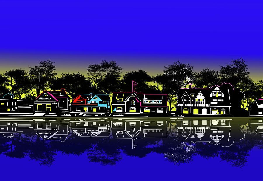 Boathouse Row Night Digital Art