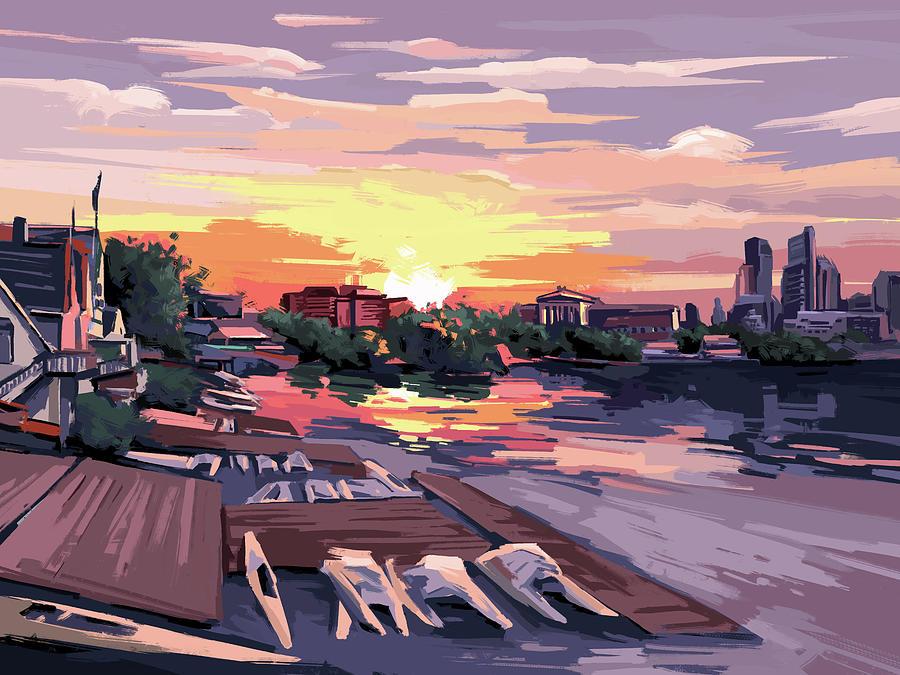 Boathouse Row Purple Sunset Digital Art