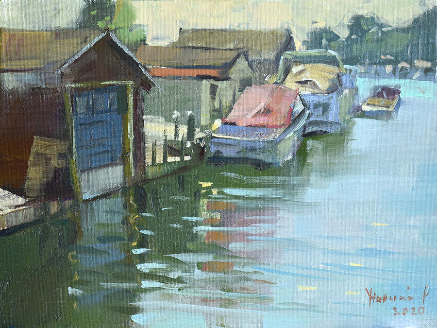 Boathouses Painting - Boathouses by Ylli Haruni