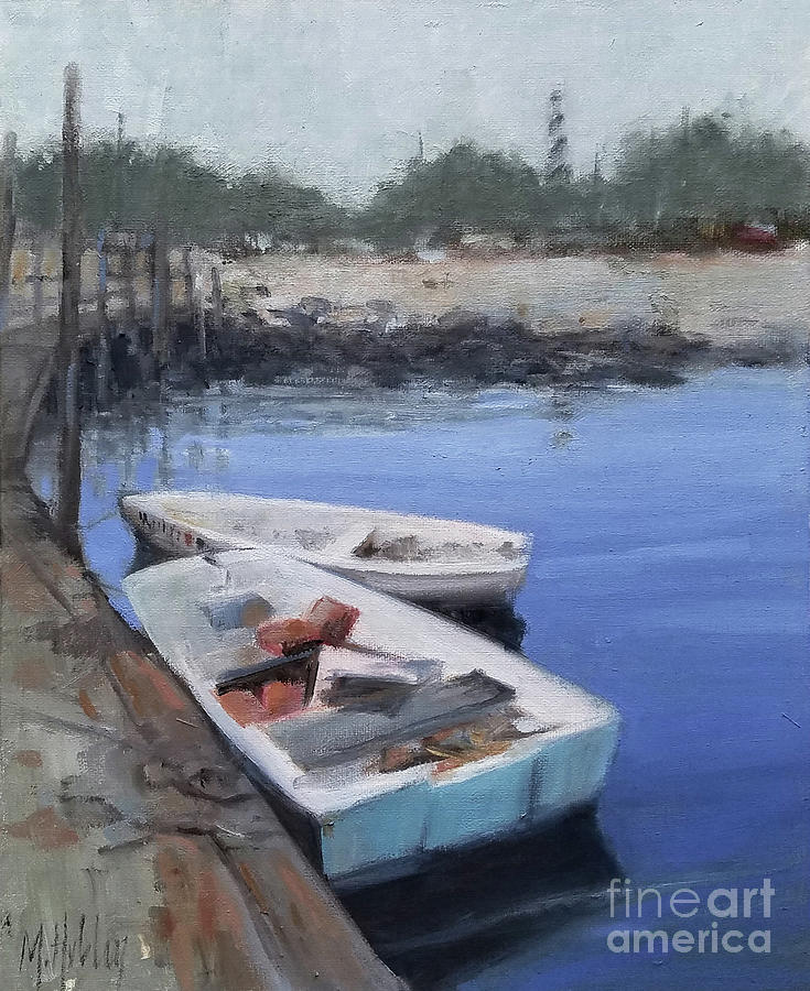 Boats By The Lighthouse Painting