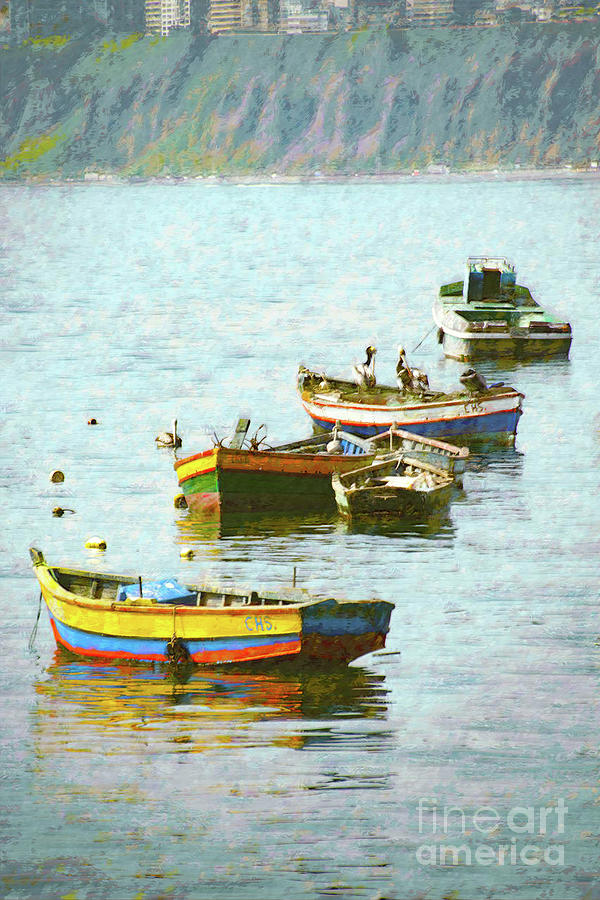Boats In A Row Digital Art