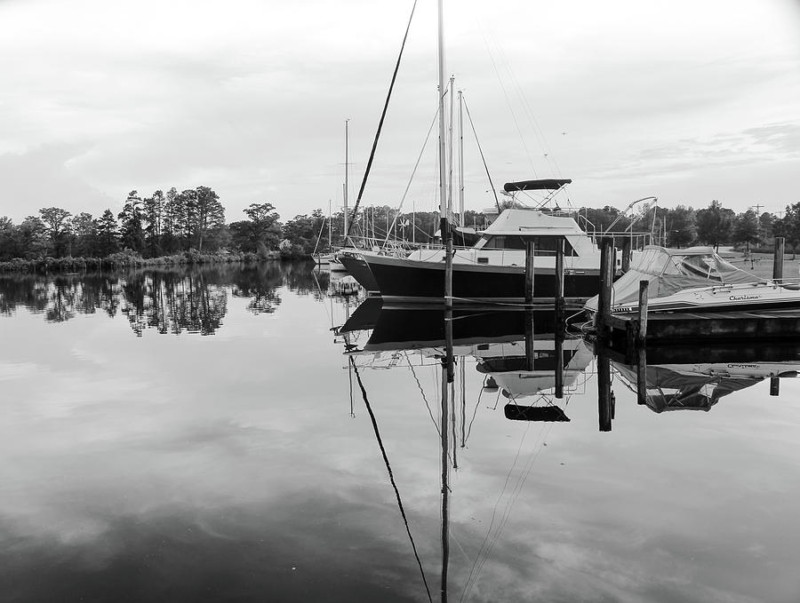 Boats In Black And White Photograph