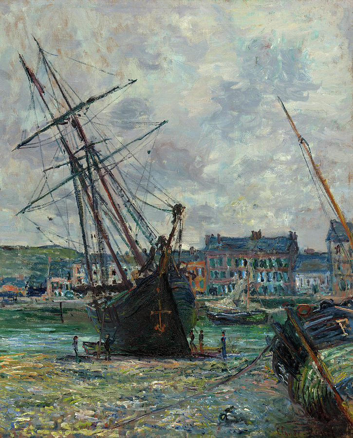 Boats Lying at Low Tide at Fecamp Painting by Claude Monet