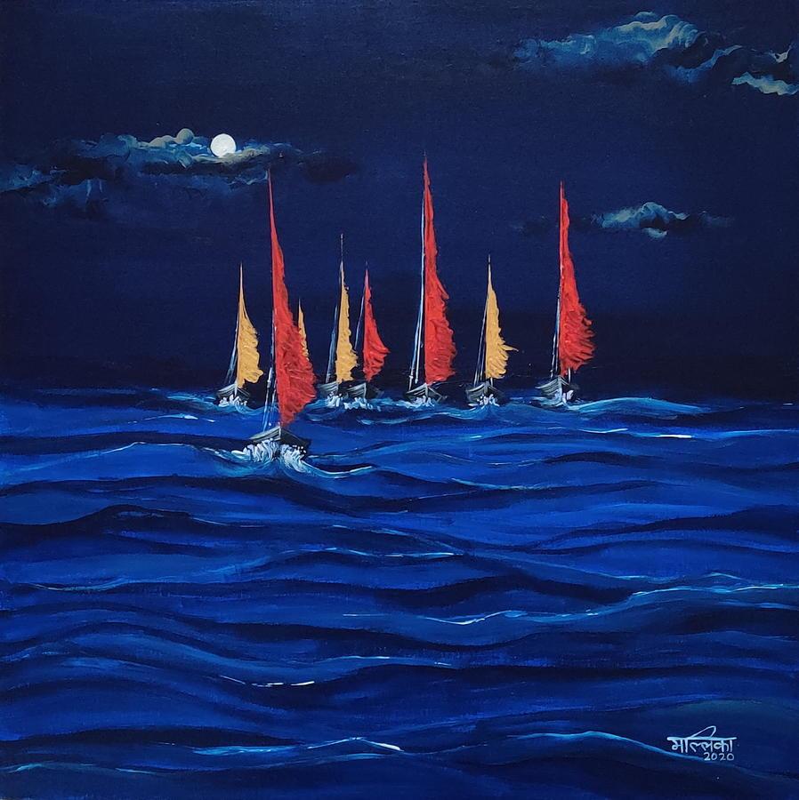 Boats Painting - Boats by Mallika Seth