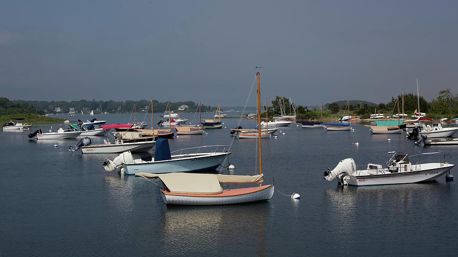 Boats On Quonochontaug Pond - Westerly Ri Photograph