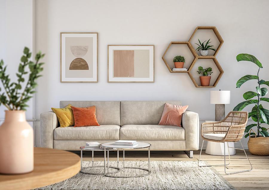 Bohemian living room interior - 3d render Photograph by CreativaStudio