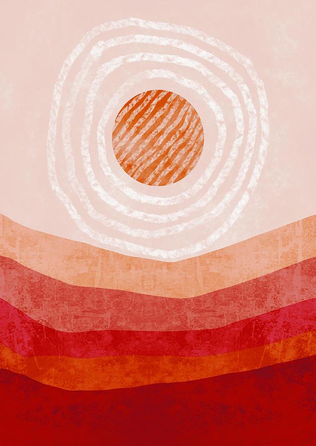 Bohemian Digital Art - Boho Desert Landscape Painting Abstract by Sweet Birdie Studio
