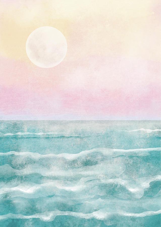Nature Digital Art - Boho Sea Ocean Sunset Blue Pink Painting by Sweet Birdie Studio