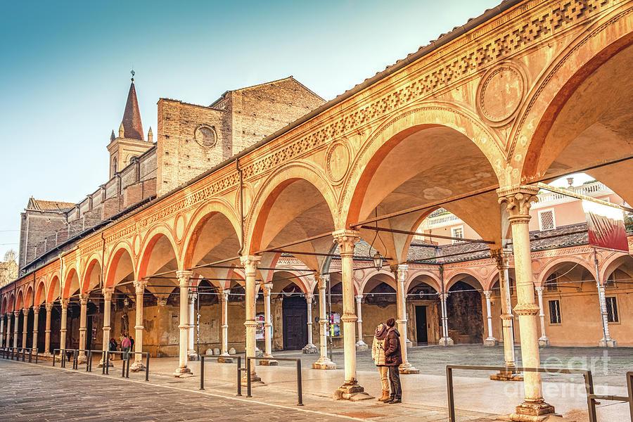 Bologna local landmark of Emilia Romagna region of Italy - Santa Maria dei Servi or Santa Lucia church and archway or Portico by Luca Lorenzelli