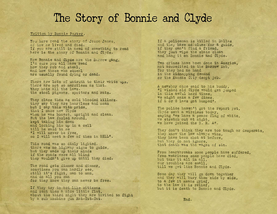 Bonnie Parkers Hand-Typed Poem - THE STORY OF BONNIE AND