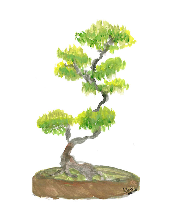 Bonsai Tree Painting By Atlanta Carrera