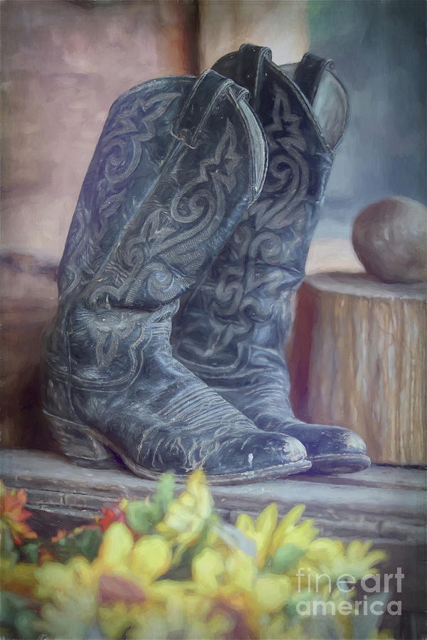 Boot Photograph - Boots Resting - Impressionist by Chris Mautz