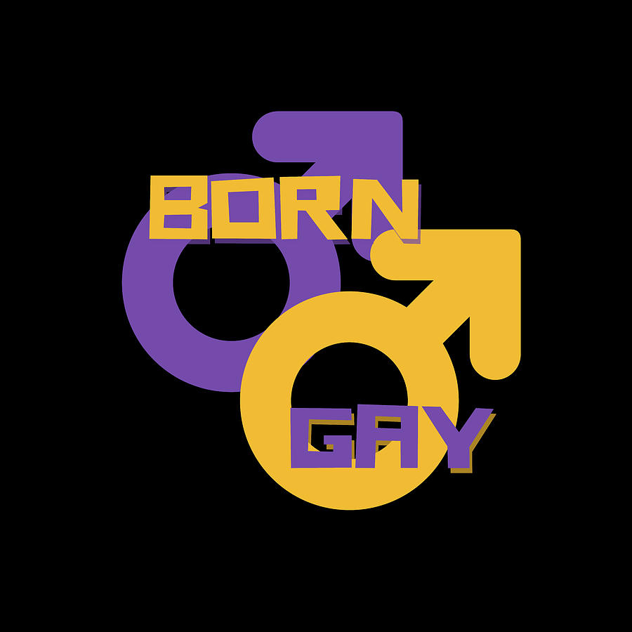 Gay Male Painting - Born Gay LGBT Design by Vincent