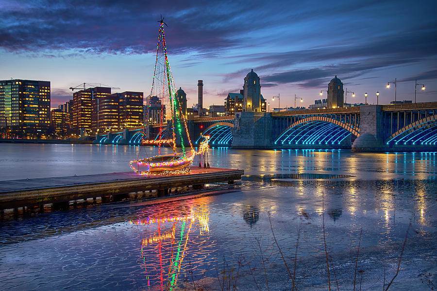 Boston Christmas Scenes - Charles River by Joann Vitali