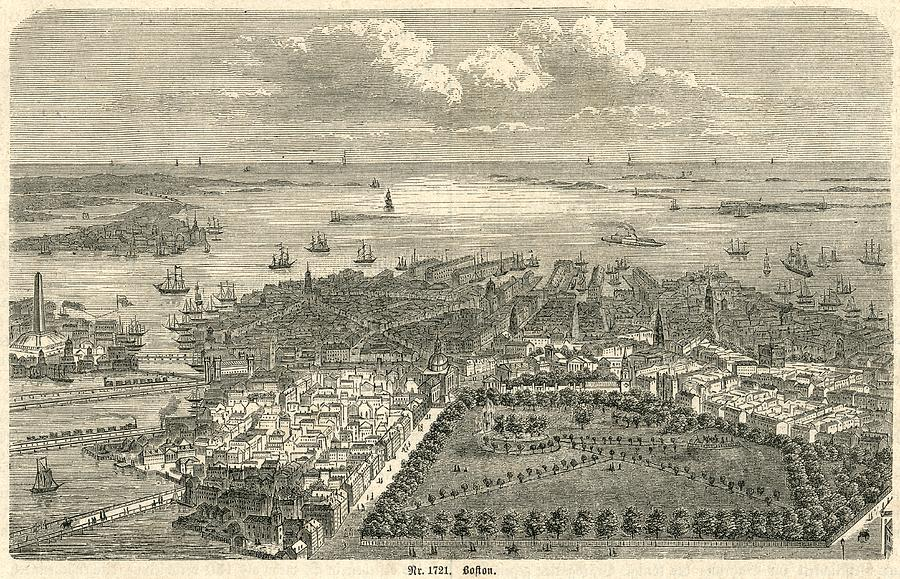 Boston Harbor Looking Out To Sea 19th Century Engraving Drawing by Whiteway