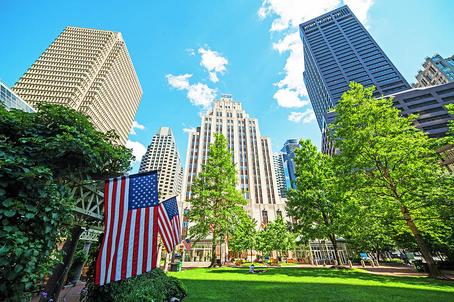 Boston MA Norman B. Leventhal Park American Flags Skyline by Toby McGuire