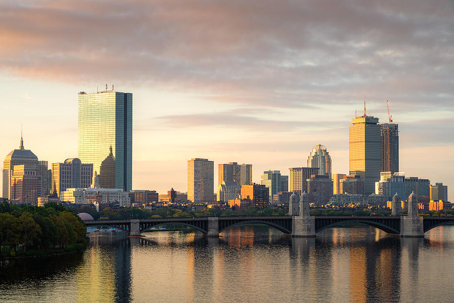 Boston, Massachusetts, USA downtown cityscape from across the Charles River at dawn. Photograph by Prasit photo