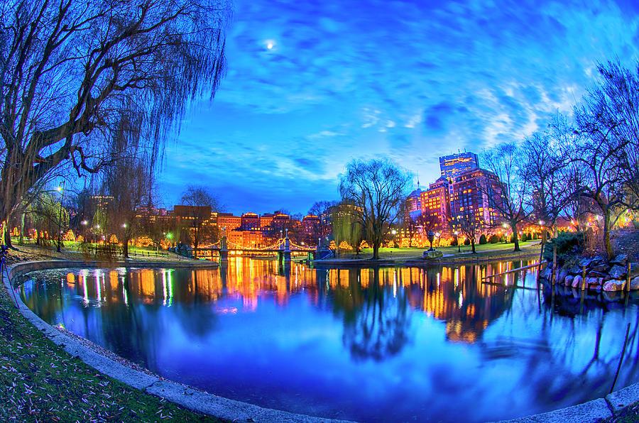 Boston Public Garden Lagoon Moon by Joann Vitali