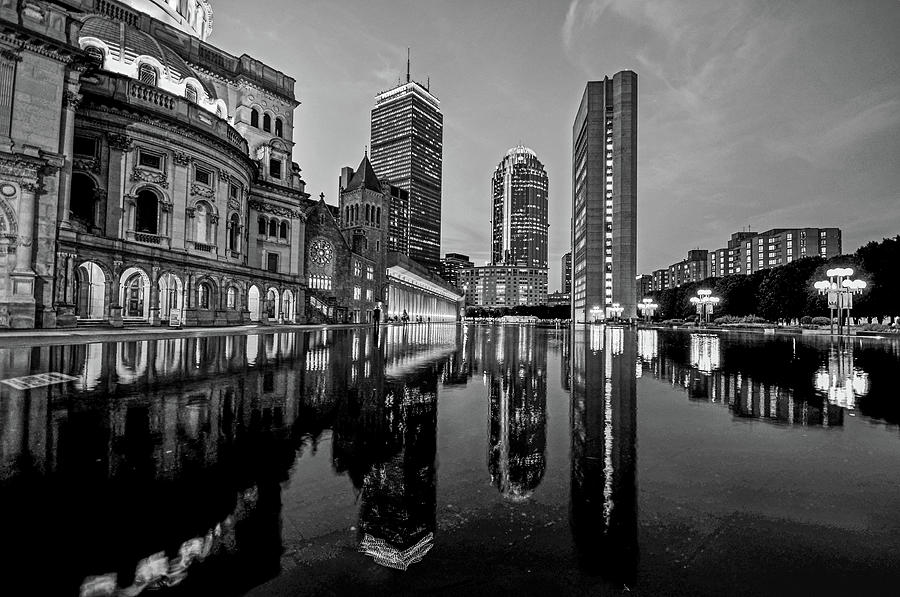 Boston Reflecting Pool Christian Science Church Black and White Reflection by Toby McGuire