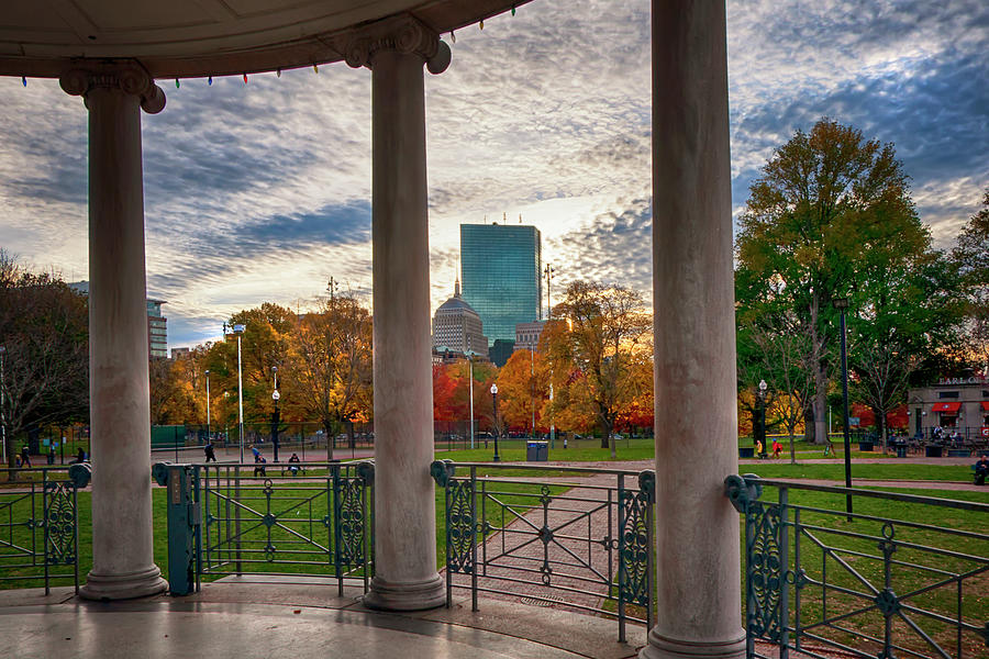 Boston Skyline Autumn View from Parkman Bandstand by Joann Vitali