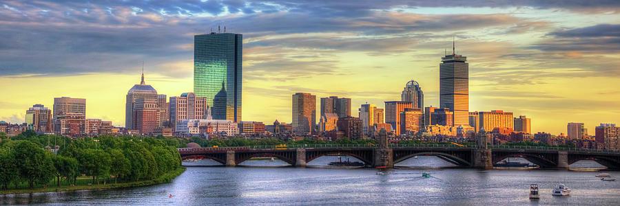 Boston Skyline Sunset Over Back Bay Panoramic Photograph by Joann Vitali