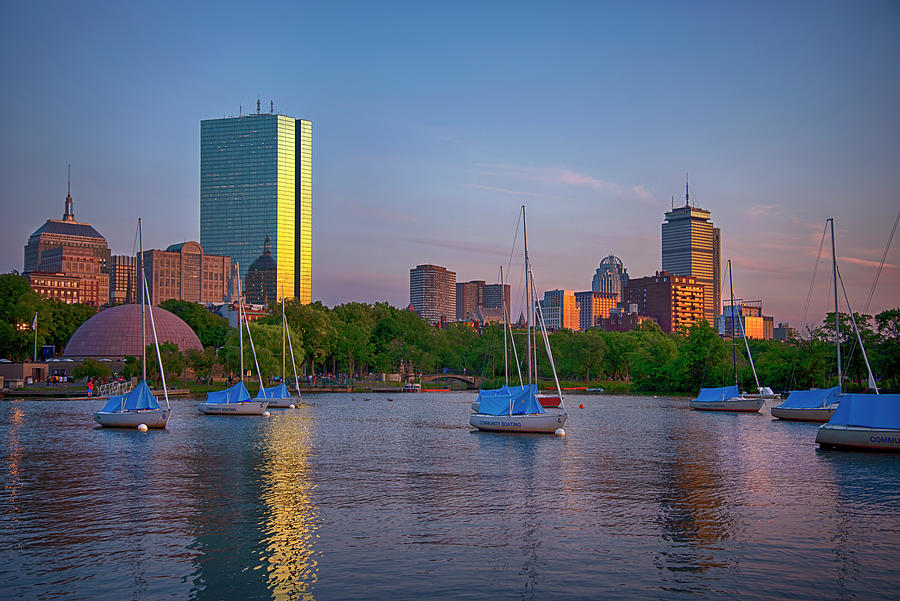 Boston Skyline Sunset Over The Charles River Photograph