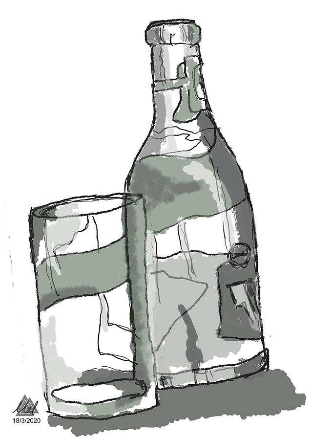 Still Life Drawing Of A Bottle And Glass Digital Art