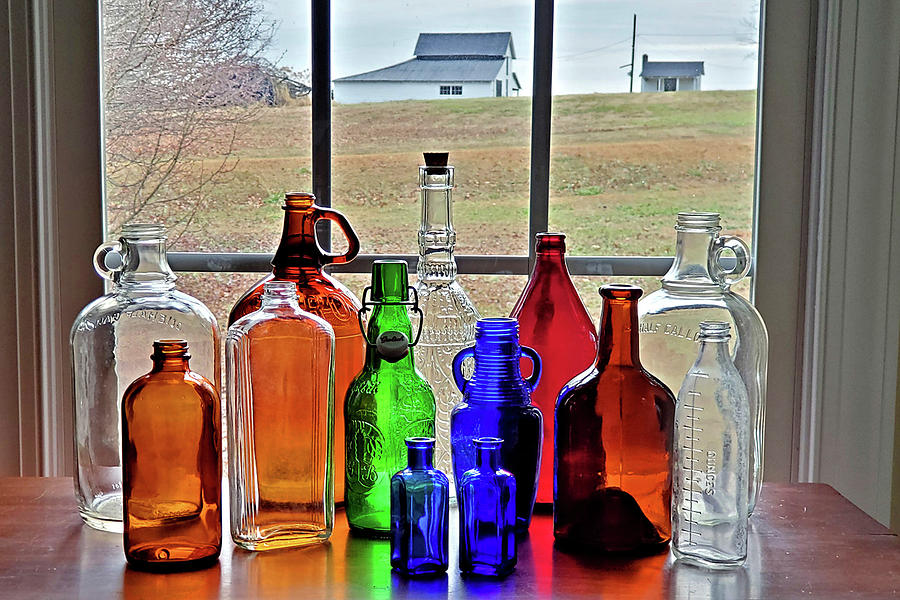 Bottles on the Farm by Nadine Lewis