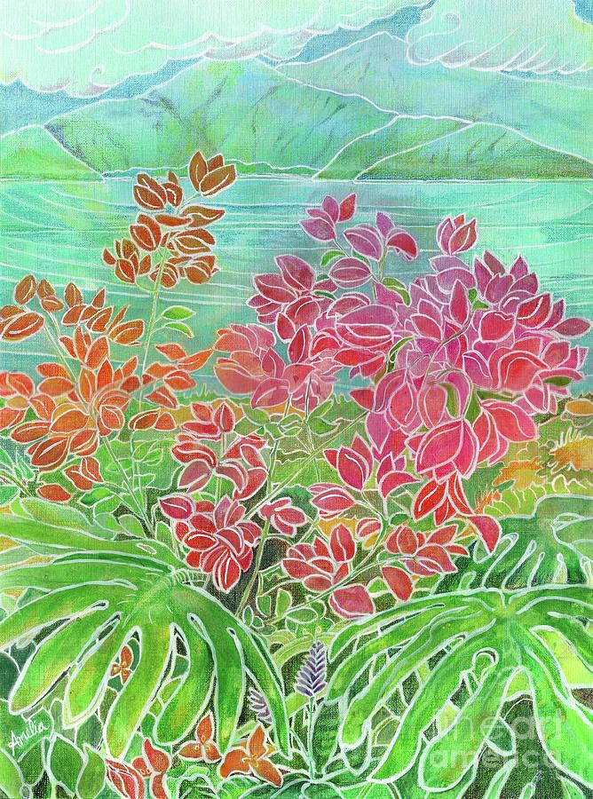 Tropical Painting - Bougainvillea in Maui by Amelia at Ameliaworks