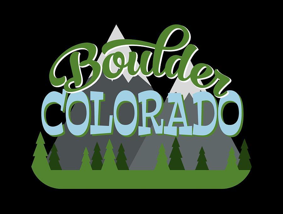 Boulder Digital Art - Boulder Colorado Retro Mountains Trees by Flo Karp