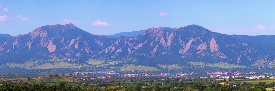 Boulder Flatirons And The University Of Colorado Panoramic Photograph