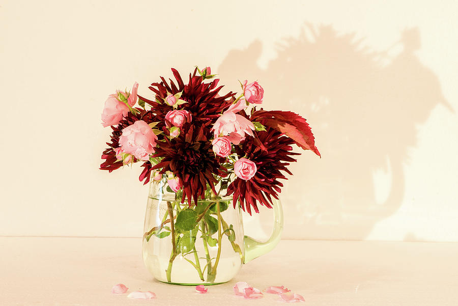 Bouquet Of Autumn Flowers In A Green Glass Pitcher Photograph