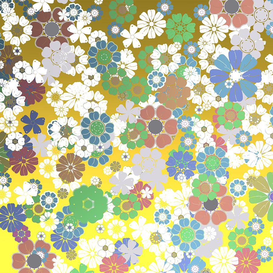 Bouquet Of Flowers Over Golden Background Digital Art