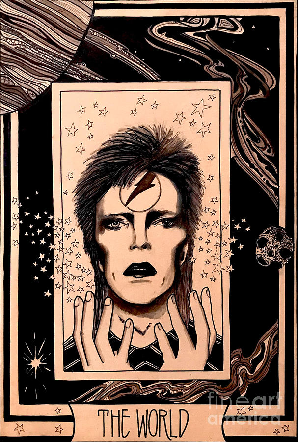 David Bowie Drawing - Bowie the World Card by Kathy Zyduck