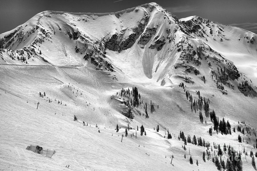 Bowls Below The Road To Provo Black And White by Adam Jewell