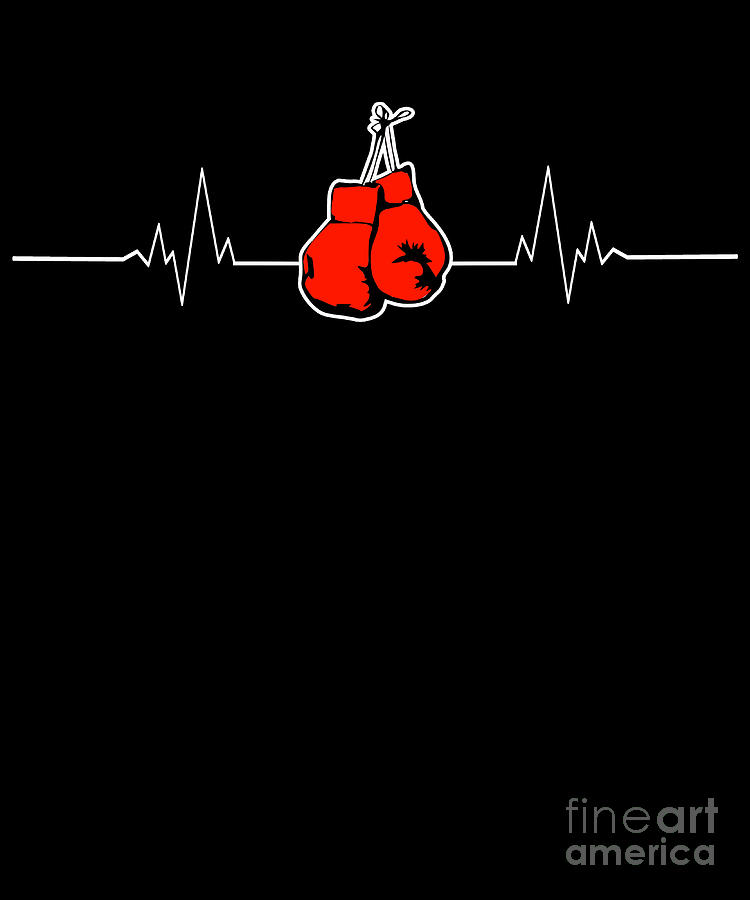 Boxing Gloves Heartbeat Boxing Match Boxer Gift Digital Art by MUC Designs