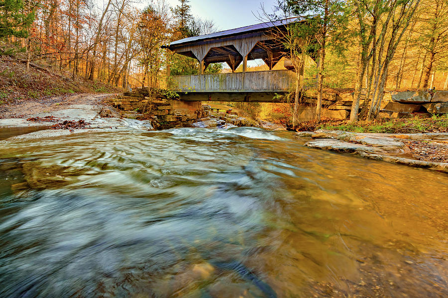 Boxley Valley Arkansas Covered Bridge And Adds Creek In Autumn Photograph