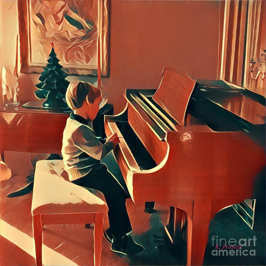 Christmas Digital Art - Boy At Piano  by Karen Francis