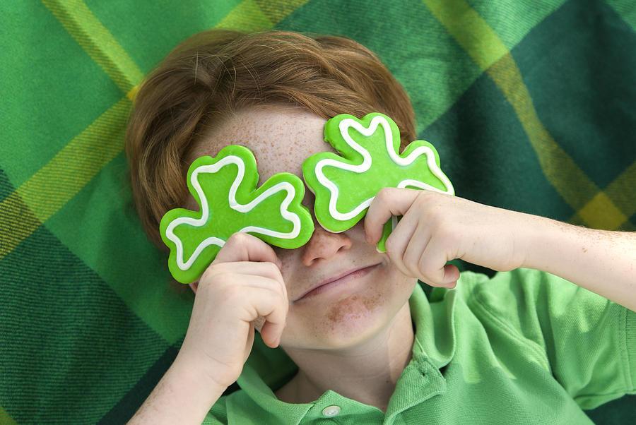 Boy Leprechaun, Smiling Irish Child & St. Patricks Day Shamrock Cookies Photograph by Funwithfood