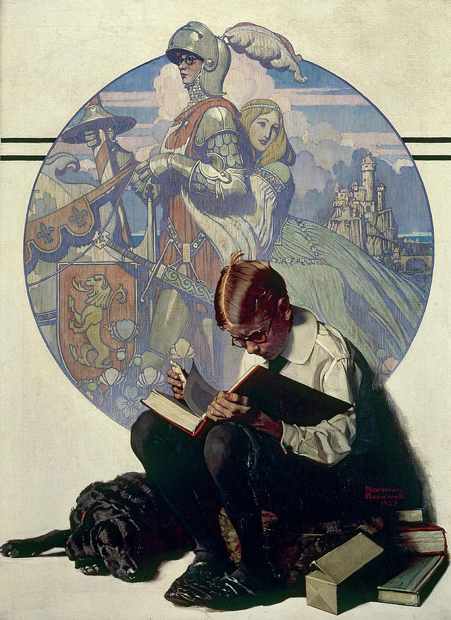 Norman Rockwell Painting - Boy Reading Adventure Story, 1923 by Norman Rockwell