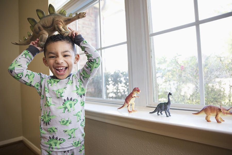 Boy with dinosaur figurines Photograph by Camille Tokerud Photography Inc.